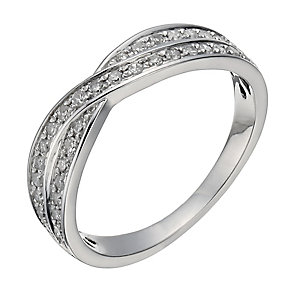 Platinum 0.25ct diamond crossover ring - Product number 1246879