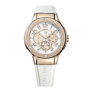 Tommy Hilfiger Ladies' Rose Gold White Rubber Strap Watch - Product number 1248685