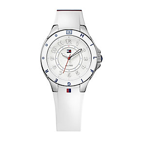 Tommy Hilfiger Ladies' Steel White Rubber Strap Watch - Product number 1248693