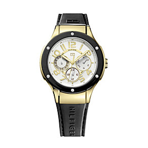 Tommy Hilfiger Ladies' Gold-Plated Black Rubber Strap Watch - Product number 1248847