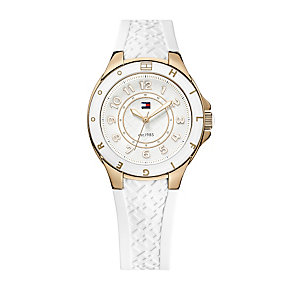 Tommy Hilfiger Ladies' Rose Gold-Plated Rubber Strap Watch - Product number 1248855
