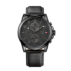 Tommy Hilfiger Men's Black Leather Strap Watch - Product number 1248960