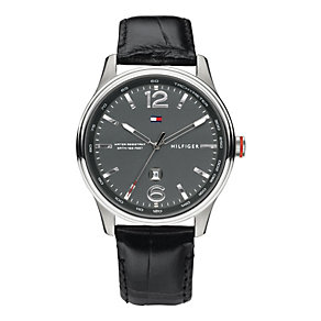 Tommy Hilfiger Men's Black Leather Strap Watch - Product number 1248987