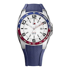 Tommy Hilfiger Men's White Dial Blue Rubber Strap Watch - Product number 1249002