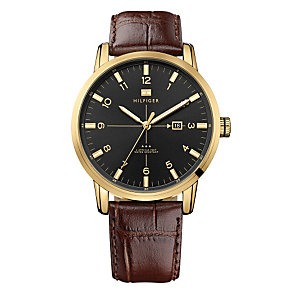 Tommy Hilfiger Men's Black Dial Brown Leather Strap Watch - Product number 1249053