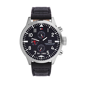 Tommy Hilfiger Men's Black Dial Black Leather Strap Watch - Product number 1249061