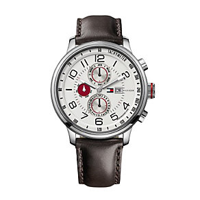 Tommy Hilfiger Men's White Dial Brown Leather Strap Watch - Product number 1249169