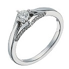 9ct white gold 1/3 carat diamond solitaire ring - Product number 1260278