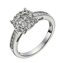 18ct white gold 0.75ct diamond halo cluster ring - Product number 1264613