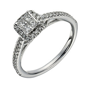 9ct white gold 38 point diamond halo cluster ring - Product number 1265709