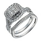 18ct white gold one carat diamond double halo cluster ring - Product number 1266241