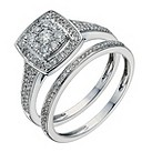 9ct white gold 1/2 carat diamond halo cluster bridal set - Product number 1268899