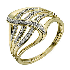 9ct yellow gold rhodium-plated diamond wave ring - Product number 1269178