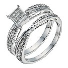 9ct white gold 1/3 carat diamond crossover bridal set - Product number 1269429