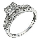 9ct white gold 1/2 carat diamond halo cluster ring - Product number 1271091