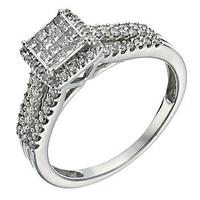 9ct white gold 0.50ct diamond halo cluster ring - Product number 1271091