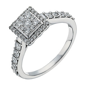 18ct white gold 0.66ct diamond square halo cluster - Product number 1271229