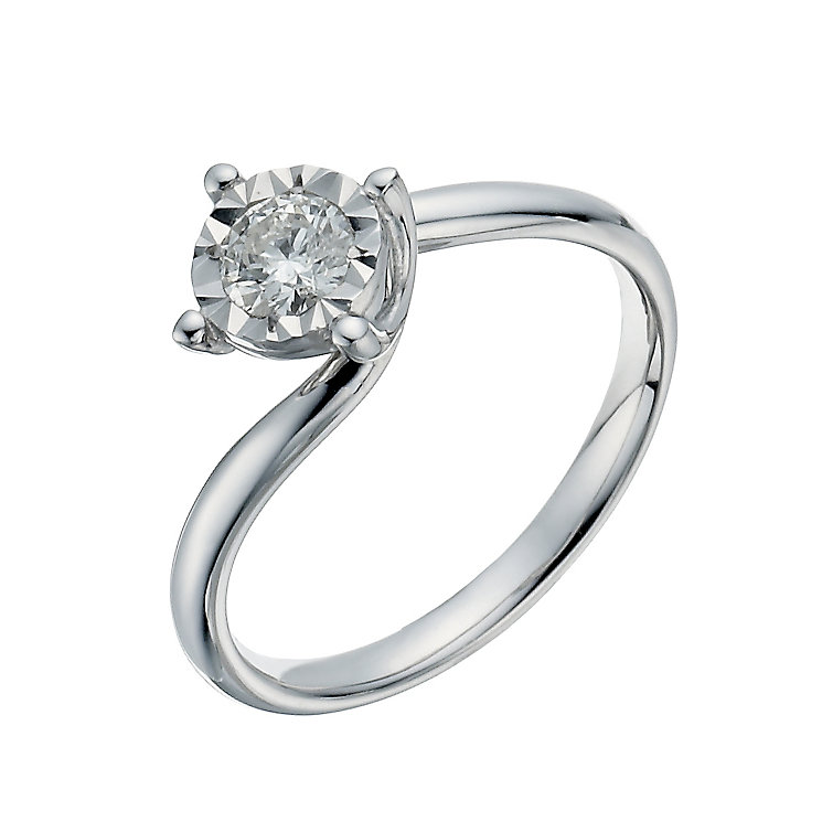 9ct white gold 0.33ct twist illusion solitaire ring - Product number 1271881