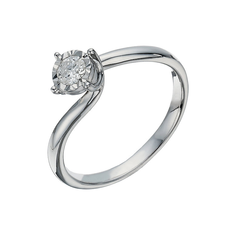 9ct white gold 0.17 carat twist illusion solitaire ring - Product number 1272020