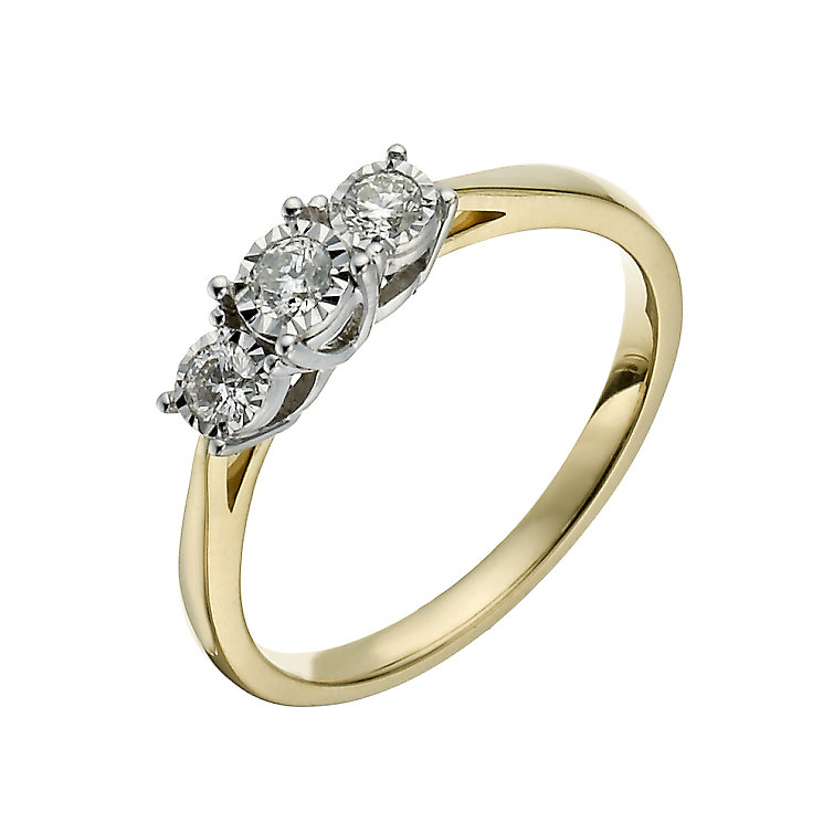 9ct yellow gold 19pt illusion set 3 stone ring - Product number 1272446