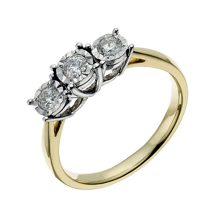 9ct yellow gold 0.33ct illusion set 3 stone ring - Product number 1272691