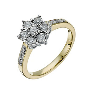 9ct yellow and white gold 0.39ct illusion cluster ring - Product number 1272829