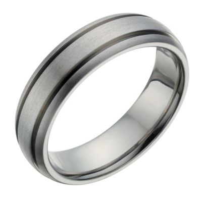 Titanium Mens Satin Polished Ridged Detail Ring HSamuel