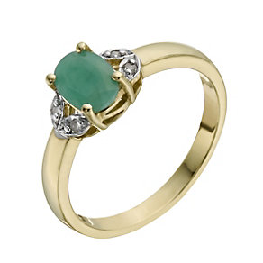 9ct Yellow Gold Emerald & Diamond Ring - Product number 1274937