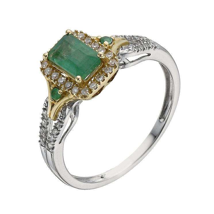 silver 9ct yellow gold emerald 15 point ring