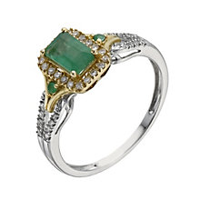 Silver & 9ct Yellow Gold Emerald & 15 Point Diamond Ring - Product number 1275240