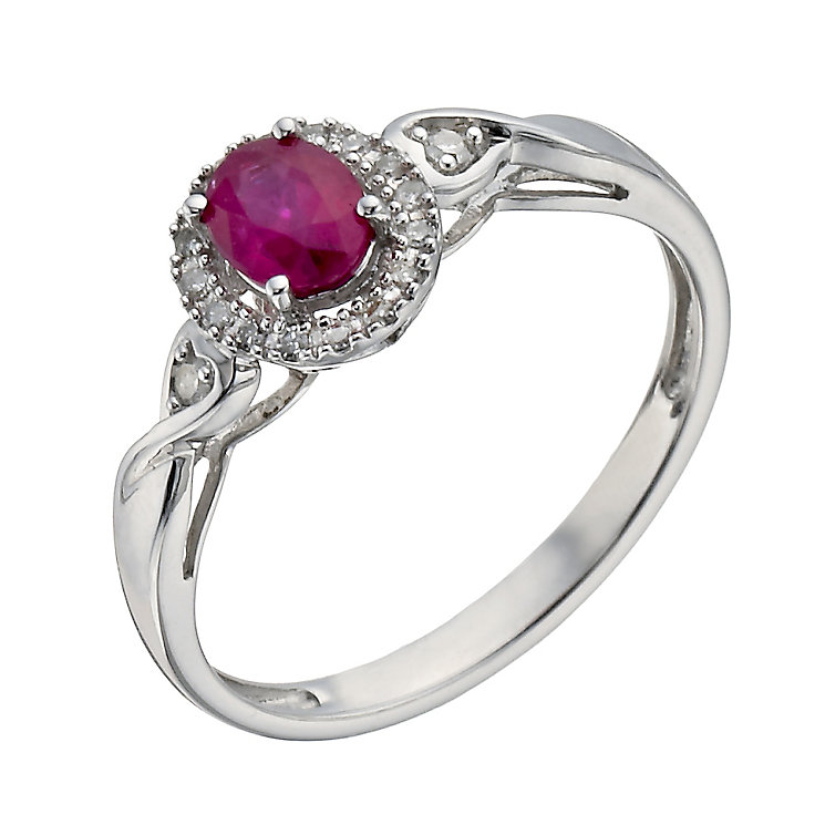 Sterling Silver Diamond & Treated Ruby Twist Ring - Product number 1275518