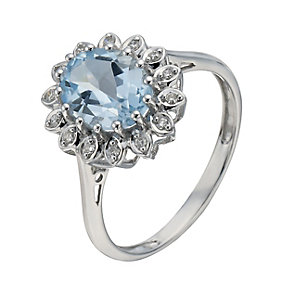 9ct White Gold Blue Topaz & Diamond Ring - Product number 1275631