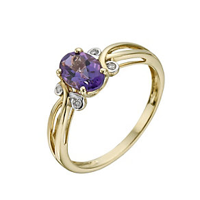 9ct Yellow Gold Amethyst & Diamond Ring - Product number 1276069