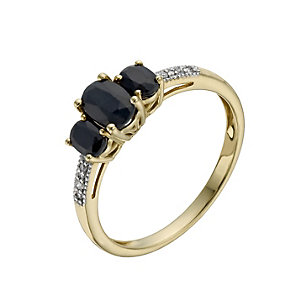 9ct Yellow Gold Sapphire & Diamond Three Stone Ring - Product number 1276204