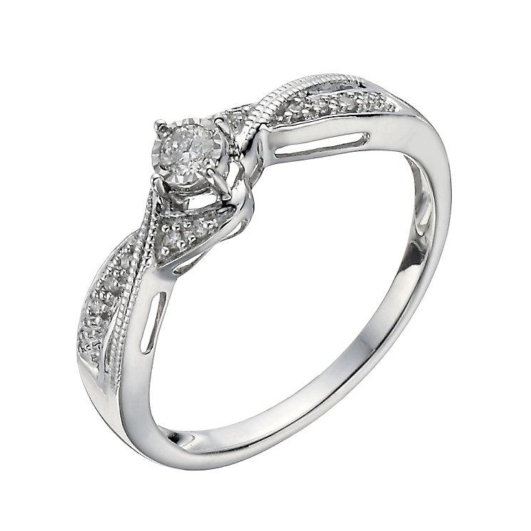 9ct White Gold 1/10 Carat Diamond Illusion Soliatire Ring - Product number 1276611