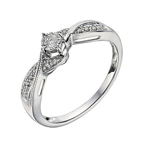9ct White Gold 1/10 Carat Diamond Illusion Soliatire Ring - Product number 1276611