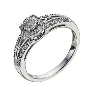 9ct White Gold 1/4 Carat Diamond Illusion Solitaire Ring - Product number 1276743