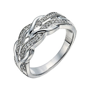 Sterling Silver & Diamond Plait Eternity Ring - Product number 1277413