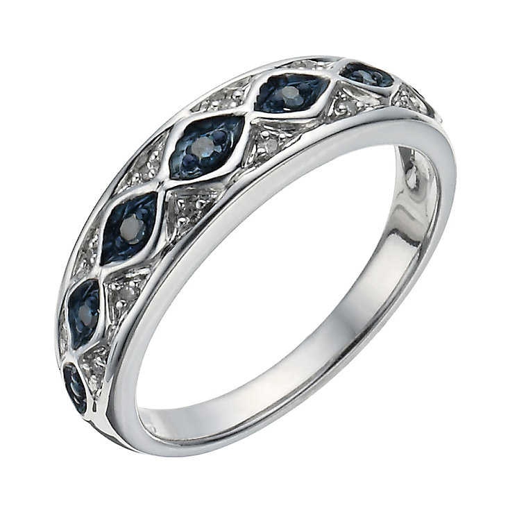 Silver 1/10 Carat White & Treated Blue Diamond Eternity Ring - Product number 1277685