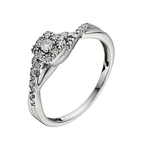 9ct White Gold 1/6 Carat Diamond Square Halo Cluster Ring - Product number 1278428