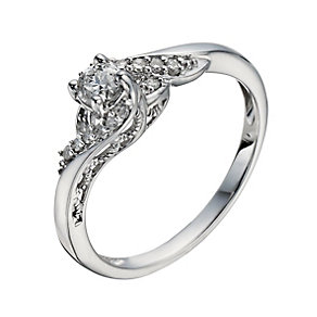 9ct White Gold 1/4 Carat Diamond Twist Solitaire Ring - Product number 1278576