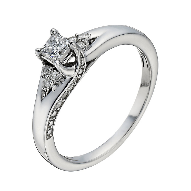 9ct White Gold 2 5 Carat Princess Cut Diamond Solitaire Ring