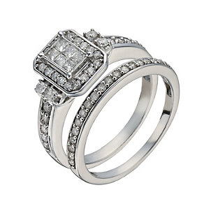 9ct White Gold 2/3 Carat Princessa Diamond Bridal Set - Product number 1278851