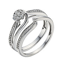 Perfect Fit 9ct White Gold 15 Point Diamond Bridal Set - Product number 1280201