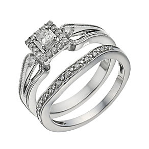 Perfect Fit 9ct White Gold 1/3 Carat Diamond Bridal Set - Product number 1280333
