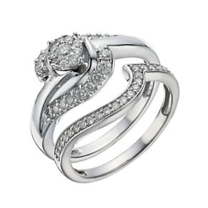 9ct White Gold  1/2 Carat Diamond Cluster Bridal Ring Set - Product number 1280473