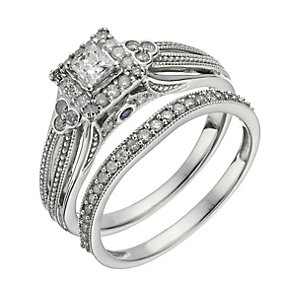 Perfect Fit 9ct White Gold 1/2 Carat Diamond Bridal Set - Product number 1280627