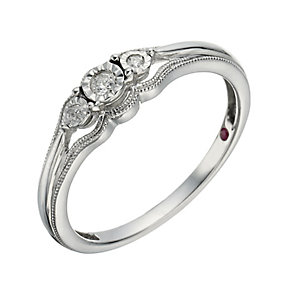 Cherished Argentium Silver & Diamond 3 Stone Ring - Product number 1281305
