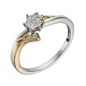 Cherished Argentium Silver & 9ct Rose Gold Diamond Ring - Product number 1281712
