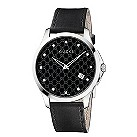 Gucci men's diamond steel black leather strap watch - Product number 1281852